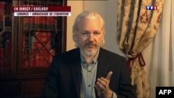 Заснавальнік WikiLeaks Джуліян Асанж дае тэлевізійнае інтэрвію францускаму тэлеканалу TF1, знаходзячыся ў амбасадзе Эквадора ў Лёндане, 24 чэрвеня 2015 году