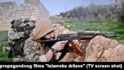 Dobrovoljci sa Balkana u redovima IDIL-a, foto isječak iz propagandnog filma IDIL-a iz 2015.
