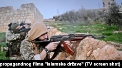 Militanti iz BiH, Kosova, Srbije i Makedonije na ratištu na strani IDIL-a, iz jednog od propagandnih filmova, 2015.
