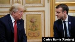 French President Emmanuel Macron meeting Trump in Paris in November.