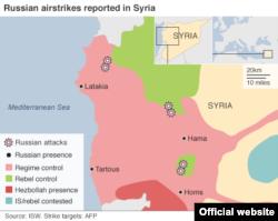 Карта военных действий в Сирии с отмеченными местами российских авиаударов