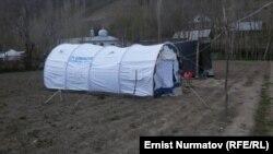 Палатки, в которых живут пострадавшие в Ошской области КР.