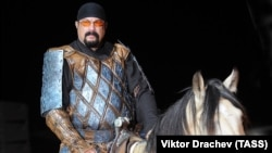 Steven Seagal on horseback at the World Nomad Games in Kyrgyzstan in 2016