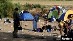 Беженцы на границе Македонии с Грецией
