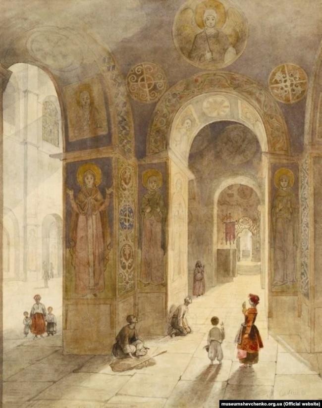 «Внутрішній вигляд Софійського собору» (квітень-вересень 1846 року, Київ). Папір, сепія, акварель