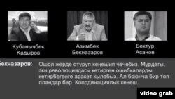 Фотографии Бектура Асанова, Азимбека Бекназарова, Кубаничбека Кадырова иллюстрируют пост с аудиозаписью.