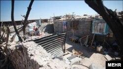An undated photo showing slums in Kerman, Iran.