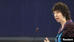 Catherine Ashton addresses the European Parliament today during a debate on EU foreign and security policy.