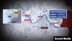 Графіка: лінія фронту на Донбасі по річці Сіверський Донець