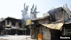 Վառված խանութներ Սիրիայի Հաֆֆեհ քաղաքում