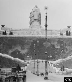 Svec's Stalin monument towers over Prague in 1955.