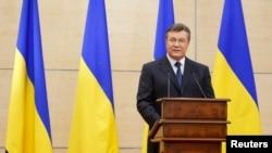 Смещенный президент Украины Виктор Янукович в ходе пресс-конференции в Ростове-на-Дону, 11 марта 2014 года.
