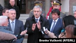 Milojko Brzakovic (center), general manager of the Zastava–Oruzje factory, said investigators were tracing the origins of at least two Zastava M70s used in the Paris attacks.