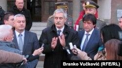 Milojko Brzakovic (center), general manager of the Zastava–Oruzje factory, said investigators were tracing the origins of at least two Zastava M70s used in the Paris attacks.