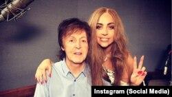 ليدی گاگا و پاول مککارتنی در استوديو - اسکرين شات از اينستاگرام: instagram.com/ladygaga