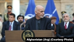 Afghan President Ashraf Ghani delivered a speech in Kabul on February 29.