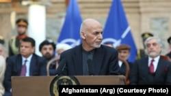 Mohammad Ashraf Ghani, președintele Afganistanului, ținând o cuvântare la Kabul, 29 februarie 2020