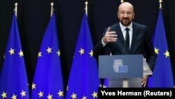 Belgium -- Incoming European Council President Charles Michel speaks during a handover ceremony in Brussels, November 29, 2019.