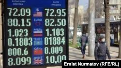 Стенд у пункта обмена валют. Архивное фото.