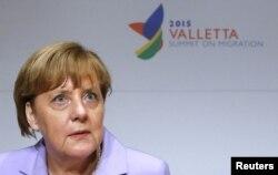 Angela Merkel la reuniunea neformală de la Valletta a liderilor UE, noiembrie 2015