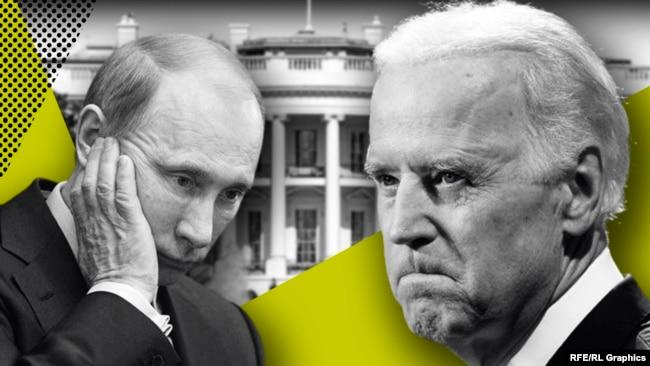 Владимир Путин и Джо Байден. Коллаж