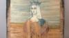 Портрет королевы Франции Анны Ярославны на ящике из-под патронов