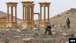 Ресейлік әскерилер Пальмираның тарихи бөлігін минадан тазарту жұмысын атқарып жүр. Сирия, 11 сәуір 2016 жыл.