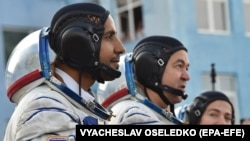 The three-person crew has arrived at the International Space Station.