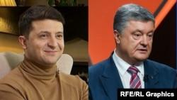 31 март куни Украина президенти сайловида энг кўп овозни Володимир Зеленский (чапда) ва Петро Порошенко олган.