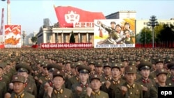 North Korea -- demonstration in Pyongyang to celebrate nuclear test, 20Oct2006