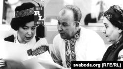Germany--Galina Rudnik (left), Uladzimer Tsvirka (middle), and Barbara Vezhbalovich on air in Munich, 1960.