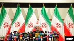 Хасан Роугані на першій після обрання прес-конференції, Тегеран, 17 червня 2013 року