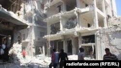 Пригород Алеппо после российской бомбардировки, Сирия, 12 октября 2016 год