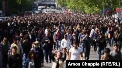 Учасники протестів в Єревані , April 17, 2018.