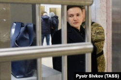 Savchenko arrives for questioning by the Ukrainian Security Service (SBU) in Kyiv on March 15.