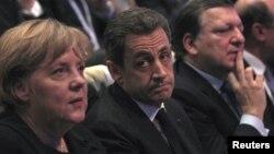 Ангела Меркель, Николя Саркози и Жозе Мануэл Баррозу