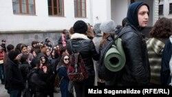 სტუდენტების აქცია უნივერსიტეტში
