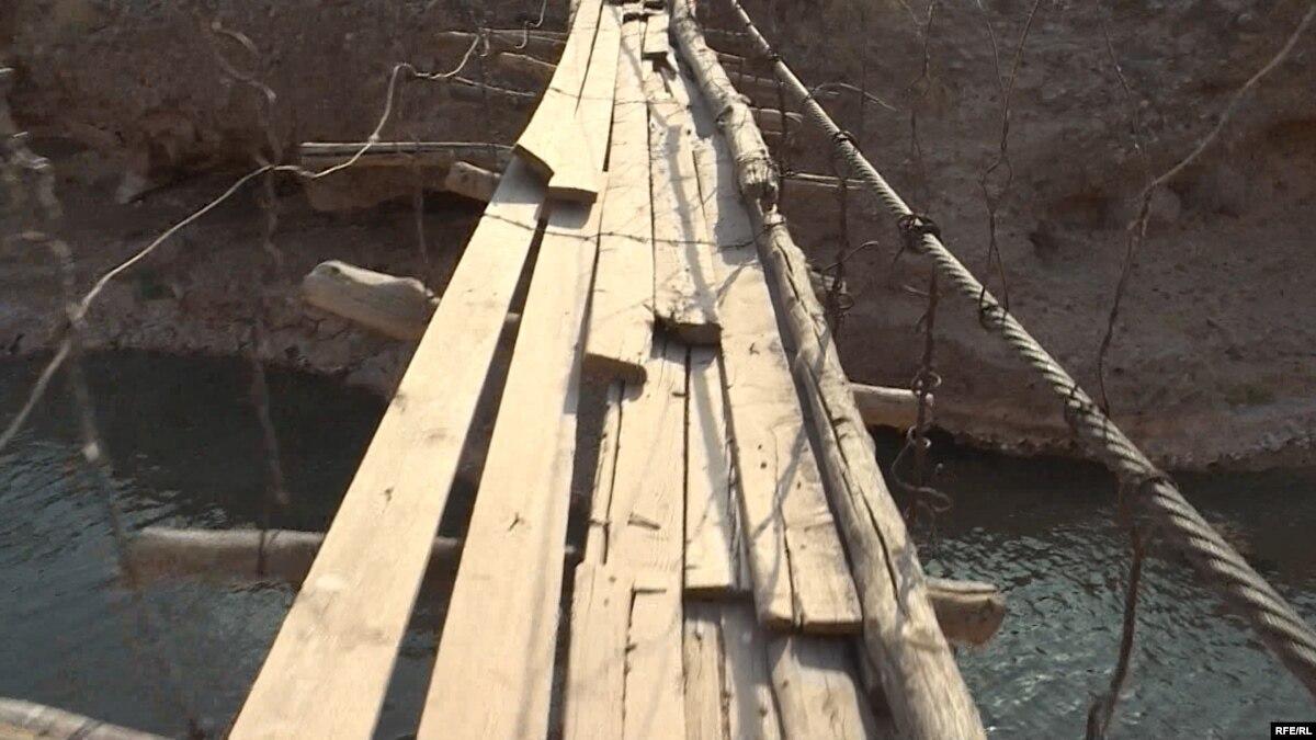 Tajik Children Brave Treacherous Bridge To School