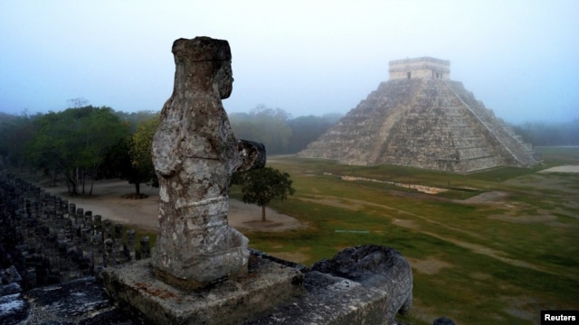 The Mayan temple of Kukulkan, the feathered serpent and Mayan snake deity, is seen at the archaeological site of Chichen Itza in the southern Mexican state of Yucatan.