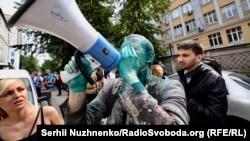 Віталій Шабунін на акції біля будівлі САП у Києві, 17 липня 2018 року