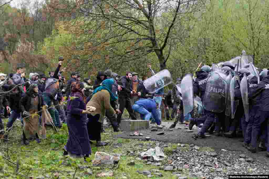 In April, violent clashes broke out (pictured) between police and locals angry at the planned construction of a dam in the gorge. After locals rained rocks down on riot police, the authorities responded with tear gas and rubber bullets.