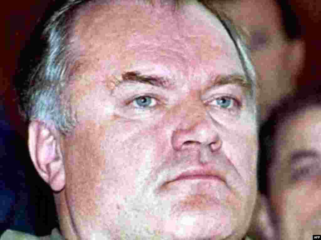 Mladic attending a session of the parliament of the self-proclaimed Bosnian Serb Republic in Pale in November 1995.