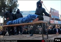 A public flogging in Iran