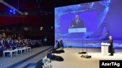 İlham Əliyev 22-ci Dünya Neft Konqresində prezidentlərin tədbirində çıxışı. İstanbul, 10 iyul 2017