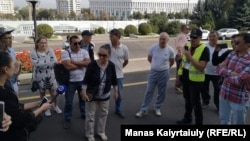 Protesters rally in Almaty to support recent Zhanaozen protests on September 4.