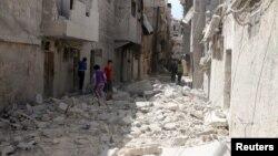 Разрушения в сирийском городе Алеппо после авианалетов. Иллюстративное фото.