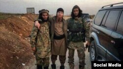 Umar al-Shishani (center), Islamic State's military emir in Syria, in one of a handful of Georgian Kist militants to attract attention.