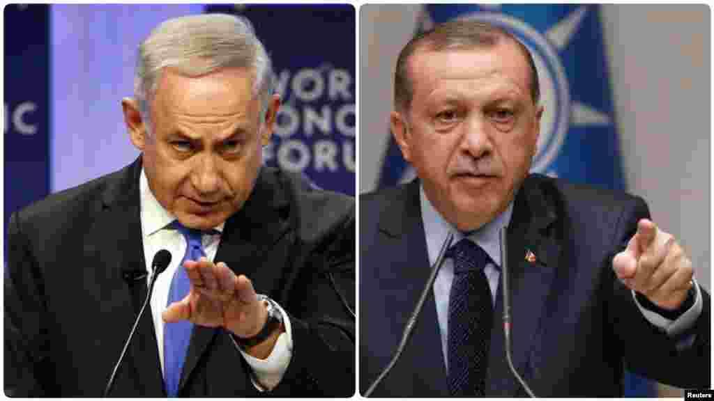 ТУРЦИЈА / ИЗРАЕЛ - Турскиот претседател Реџеп Таип Ердоган и израелскиот премиер Бенјамин Нетанјаху разменија навреди околу најновите судири на границата со Газа во кои загинаа најмалку 15 палестинци.