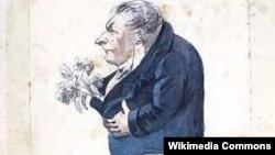 """Карикатура на Ф.В.Булгарина, сделанная неизвестным художником. Под рисунком надпись: """"Что если этот нос крапиву нюхать станет? / Крапива, кажется, завянет!"""""""
