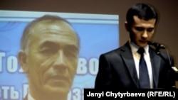 Sherzod, son of Azimjan Askarov, receiving the Homo Homini Award on behalf of his father in Prague in March.